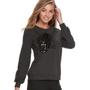 w/TAG Embellished Crewneck Sweatshirt Grey